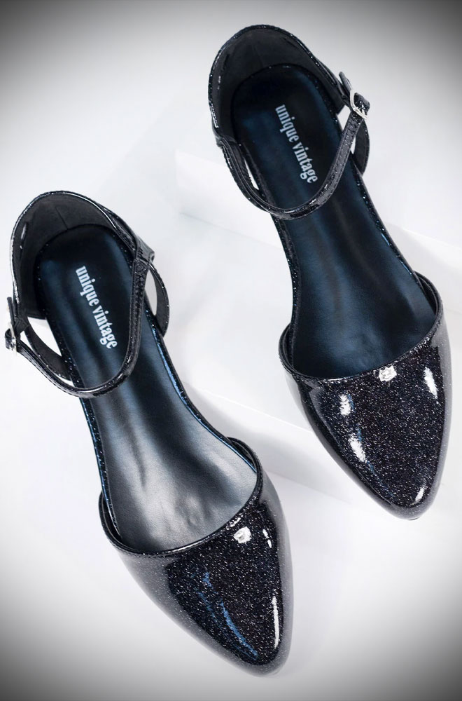 These Libby Black Sparkle Shoes are stunning flats. These fabulous D'Orsay cut pumps add a splash of glitter to any outfit. By Unique Vintage
