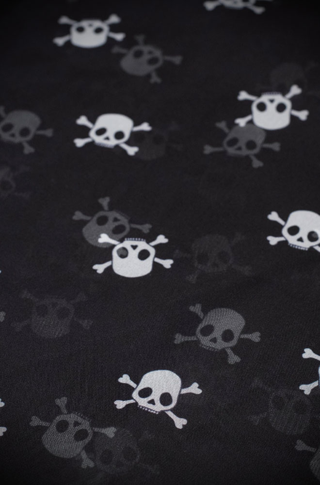 Both classic and edgy, this skulls hair scarf is the perfect finishing touch to your look! Available now at DeadlyistheFemale.com