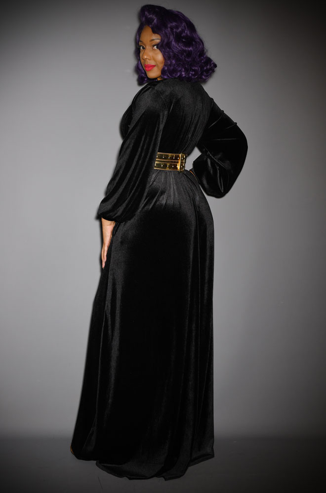 Black Velvet Claudia Gown - a draped velvet evening dress with sash waist & bishop sleeves. A signature piece by Alexandra King for Deadly is the Female.