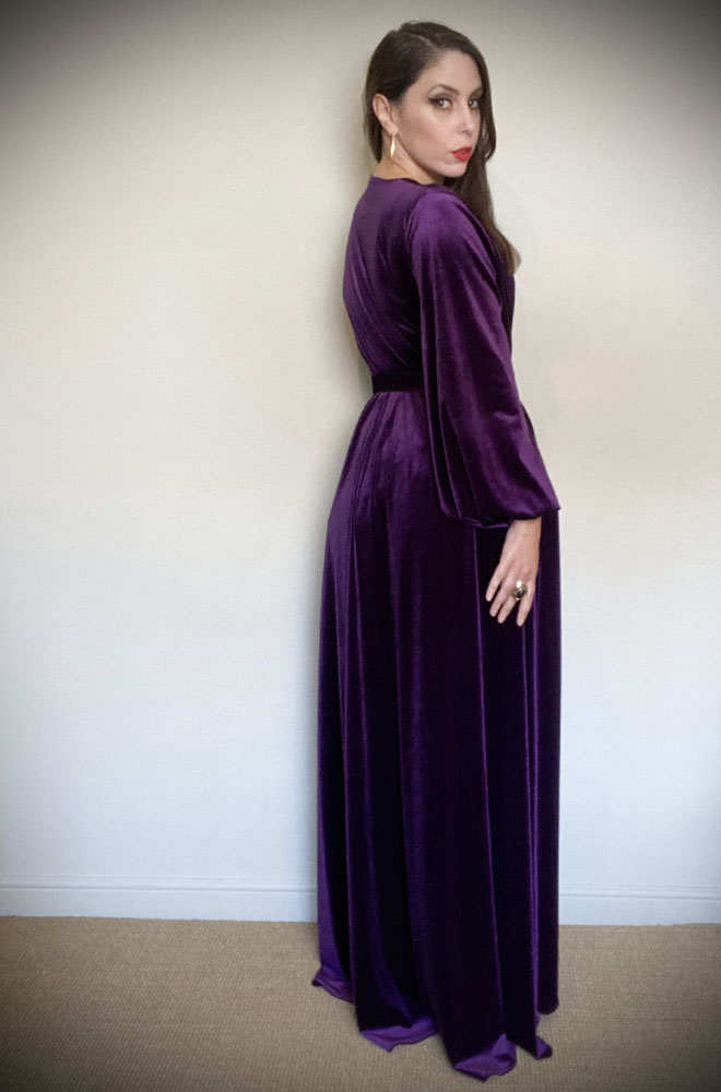 Purple Velvet Claudia Gown - draped velvet evening dress with sash & bishop sleeves. By Alexandra King for Deadly is the Female