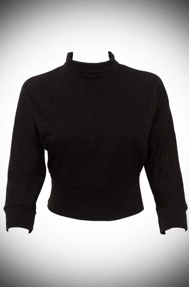 Introducing the Beatnik Top. A crew neck, batwing top made from a soft sweatshirt fabric in black with tiny multi-colour flecks.