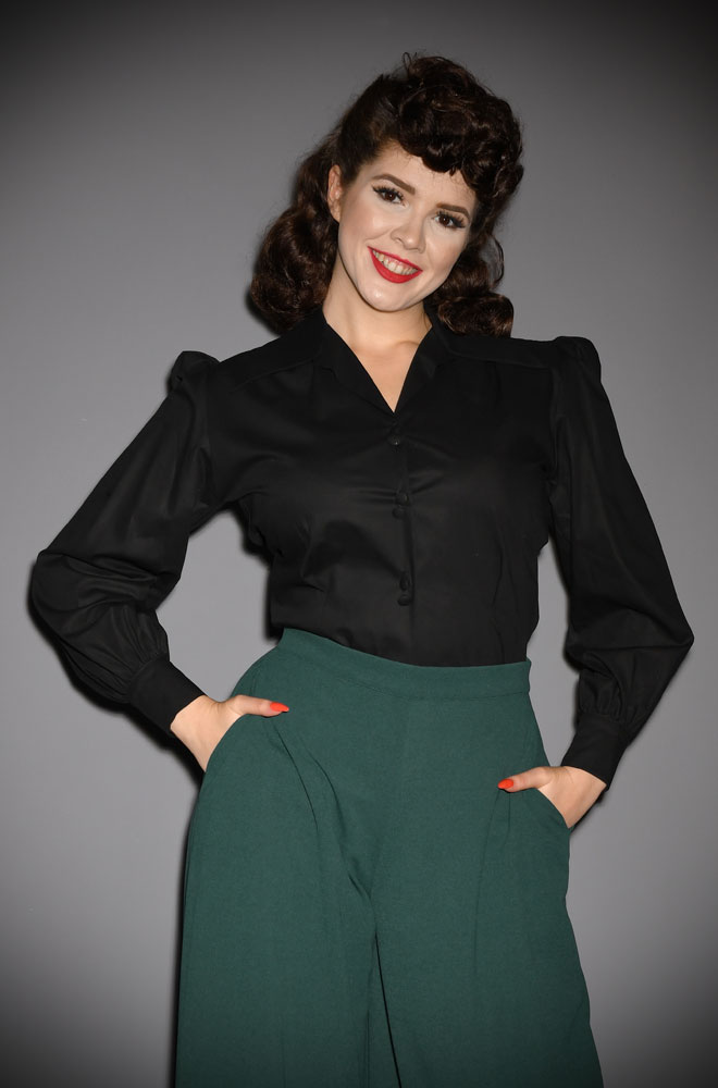 TheBlack Spellbound Blouse is the perfect 1940s style evening blouse. Designed with a film noir femme fatale in mind, it is both dramatic & chic.
