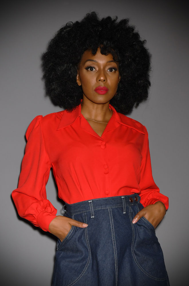 TheRed Spellbound Blouse is the perfect 40s style evening blouse. Designed with a film noir femme fatale in mind, it's both dramatic & chic.