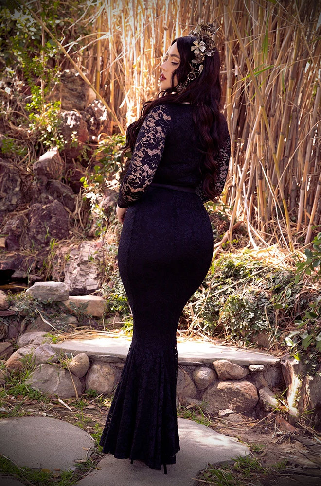 The Black Marilyn Gown in Lace is a knockout velvet evening dress.Deadly is the Female are official UK stockists of La Femme En Noir.