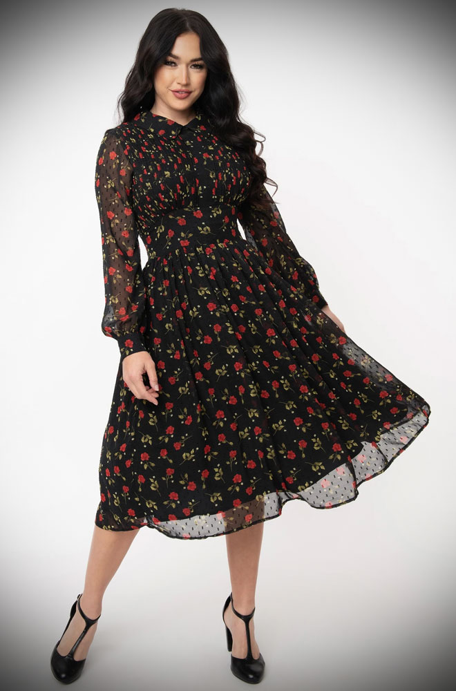 Floral Print Deirdre Dress - an effortlessly elegant 50s style dress. The red floral print on chiffon is oh-so romantic.